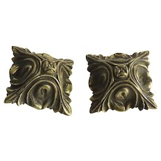 Two 19th Century French Ormolu Square Rosettes Hardware Mounts