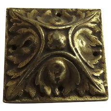 Large 19th Century French Ormolu Furniture Mount Hardware Square Rosette