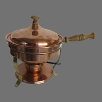 "Vintage Bazar Français New York ""666"" Copper Chafing Dish Pan with Copper Sterno Burner"