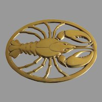 Vintage New Old Stock Brass Trivet Gorham Made in Italy Lobster 1980's