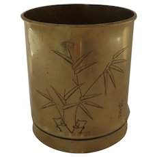 Vintage Shell Casing Trench Art Brass Cup with Signed Engraved Motif of Bamboo Trees