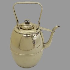 "English 19th Century Large  Brass Ale Milk Jug Kettle Pat'd 16"" tall"