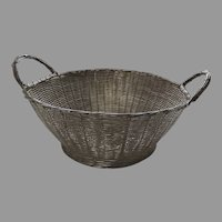 Vintage Fine Quality Wire Work Round Basket with Side Handles