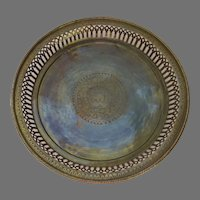 Vintage Brass Gallery Round Tray Engraved Elephant India
