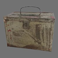 Vintage Metal Work Tool Lunch Box with Front Latch and Top Handle