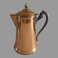 1890's Rochester Stamping Works Copper and Pewter Coffee Pot Rochester, NY.