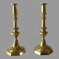 Pair 19th Century Push Up Brass Candlesticks  Holder