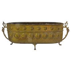 Vintage Brass Paw Footed Jardiniere Planter Made by Belgium