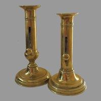 Two English Brass Push Up Candlesticks 19th Century