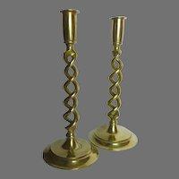 Pair of English Brass Barley Twist Pillar Candle Holders Candlesticks