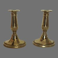 Pair of Traditional Classic Brass Candlestick Holders Oval Base
