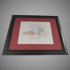 Charming Signed Dated 2007 Colored Pencil Sketch by Wendy Anderson Halperin Framed
