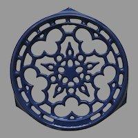 Vintage Le Creuset Cast Iron Porcelain Enamel Round Hot Plate Trivet Blue
