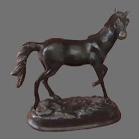 Vintage Bronze Horse Colt Statue on Base