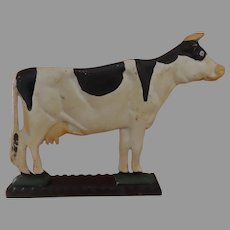 Vintage Painted Cast Iron Door Stop Dairy Cow