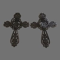 Pair Rustic Vintage Wall Hanging Cast Iron Votive or Candle Holders Cross