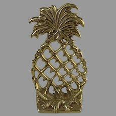 Virginia MetalCrafters 2000 Brass Pineapple Book Holder Golden