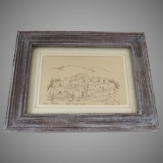 Signed Numbered Print Taos Pueblo by Larry Hilburn 1978