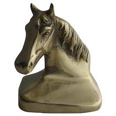 Vintage Horse Head Bookend Hand Cast Metal