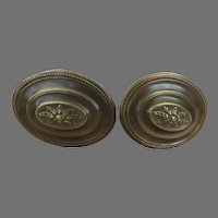 Pair of Vintage Brass Curtain Tie Backs Hooks Oval Traditional