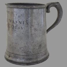 19th Century Pewter Tankard 1 Pint Owner's Name