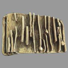 Solid Cast Brass Belt Buckle Mid Century