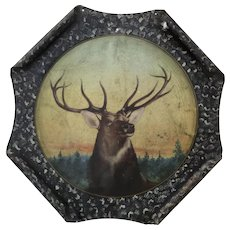 Painted Metal Tole Wall Decor Bull Deer Man Cave 1900's