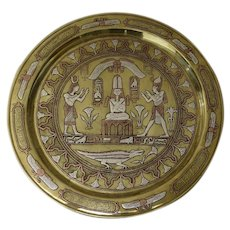 Stunning Older Vintage Egyptian Mixed Metals Tray Silver Copper Brass Crocodile Signed