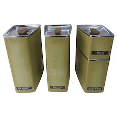 Lincoln Beautyware Angle Yellow Gold Retro Mid Century 4 Piece Canister Set
