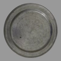 "18th Century 12 1/2"" Large Pewter Charger Plate"