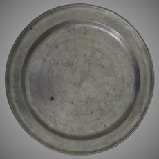 """18th Century 12 1/2"""" Large Pewter Charger Plate"""