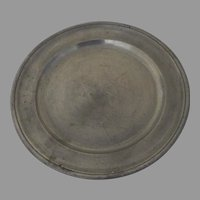 """18th Century S.W. Fein 9"""" Pewter Plate"""