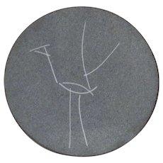 Small Enamel on Copper Dish Modern Line Bird
