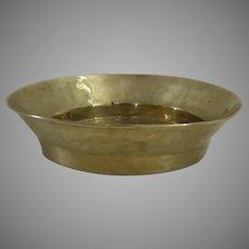 "Large 18"" Diameter Brass Wedding Bread Bowl Basin Folded Rim Country Kitchen"