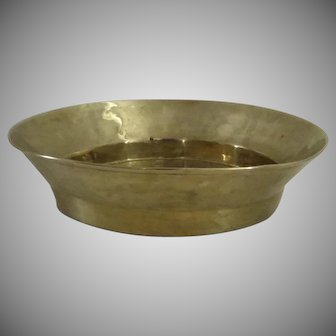 "Large 18"" Diameter Brass Wedding Bread Bowl Basin Folded Rim Country Kitchen"