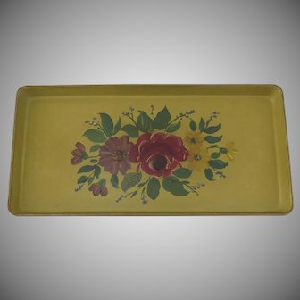 Long Narrow Tole Hand Painted Vintage Tray Mustard Color