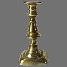19th Century English Brass Push Up Candlestick Small Charming