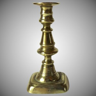 19th Century English Brass Push Up Candlestick Small Charming