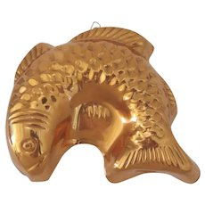 Vintage Copper Tin Lined Food Jello Mold with Hook Fish