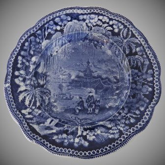 James & Ralph Clewes Blue Transfer Plate early 1800s Chinoiserie Scene Staffordshire 7 3/4""