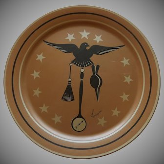 Metal Tole Tray Eagle with Stars Lauroyne (Artist) Copper Color with Eagle Mid Century