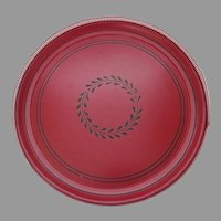 Vintage 1960's Red Round Tole Tray Reticulated Pierced Gallery Edge