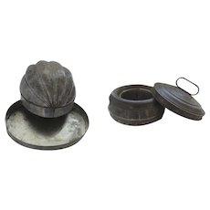 Two Large Tin Food Molds Jello Aspic Handles