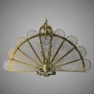 Fabulous Quality Gilt Brass Dore Folding Fan Peacock Shaped Fireplace Screen 19th Century Maker's Mark