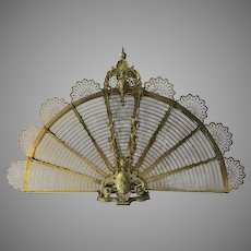 Fabulous Quality Gilt Brass Dore Folding Fan Peacock Shaped Fireplace Screen 19th Century Maker's Mark