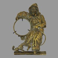 German Cast Brass Clock Stand Clown Dog Hoop Trick