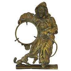 German Cast Brass Clock Stand Clown Dog Hoop Trick