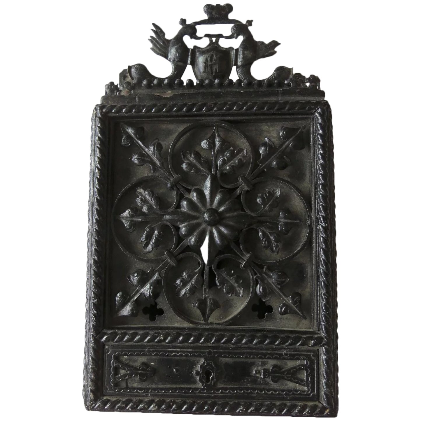Picture of: Cast And Wrought Iron Mailbox C 1920 Flanking Dolphins Crown Locking Black Tulip Antiques Ltd Ruby Lane