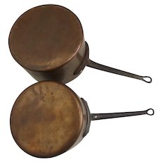 Two Large Vintage Scavullo Legion Utensils Lined Copper Pots Pans