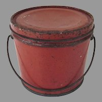 Small Lidded Painted Continental Red Bucket